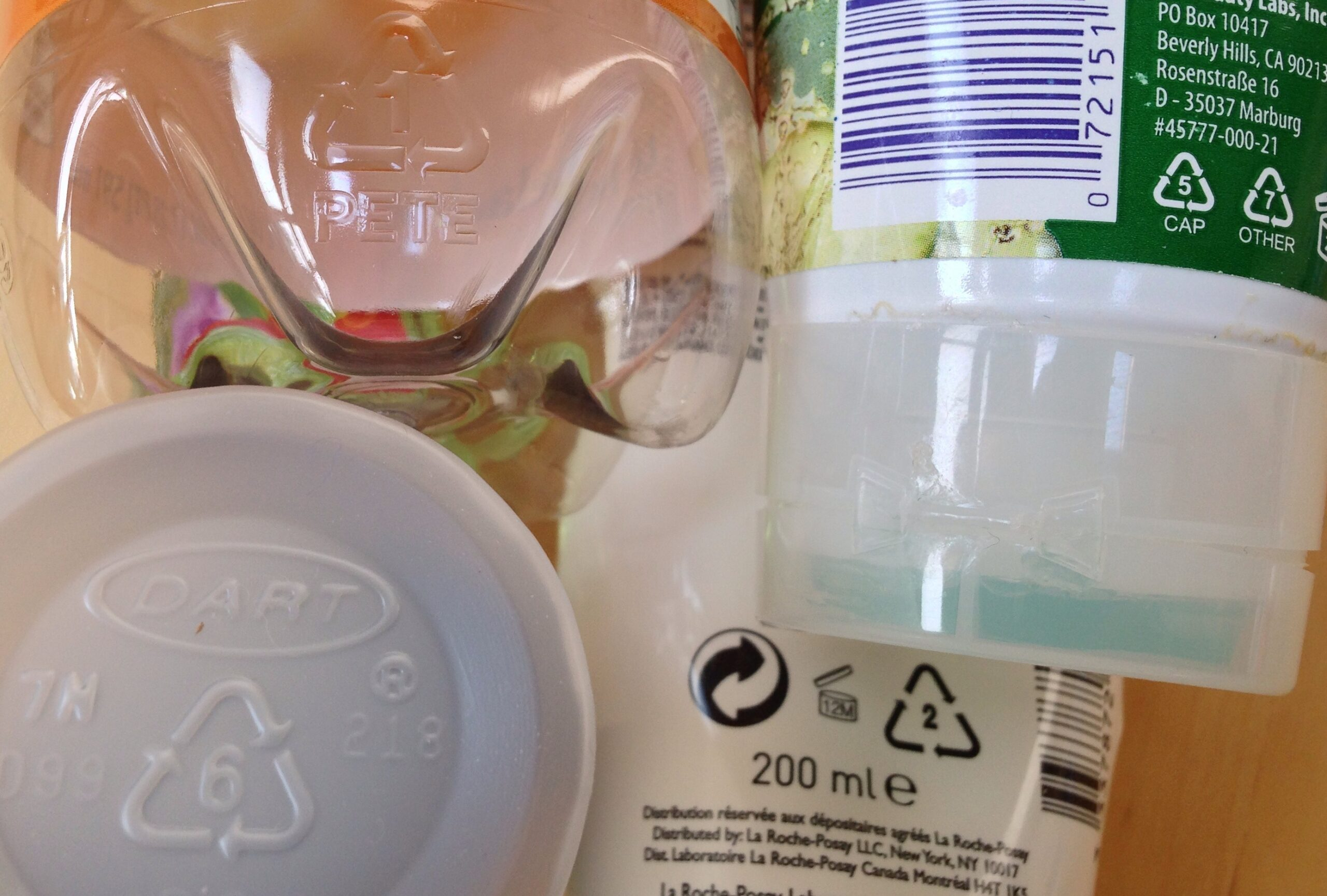 Recycling codes on consumer products and packaging.